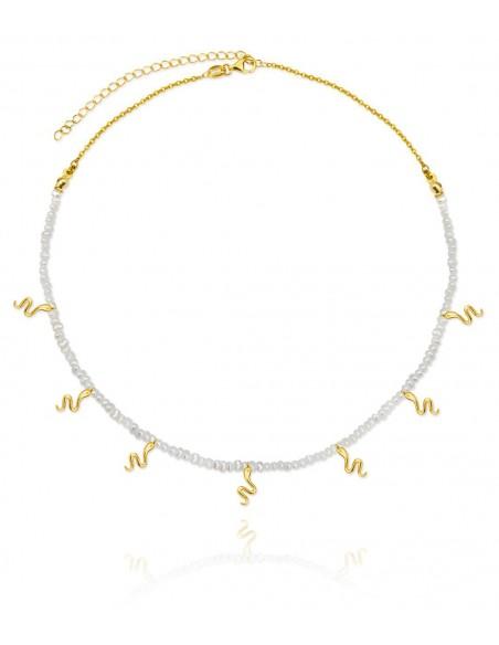 Gargantilla Plata Dorada con Perlas y Motivos Colgantes