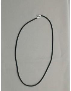 Cordón Caucho 2 mm x 45 cm. Terminal Plata